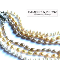 Three Strand, Champagne Golden Pearl Necklace with .925 Sterling Silver