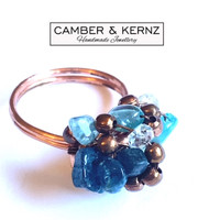 Blue Apatite with Contrasting Copper Ring (Size Q/8)