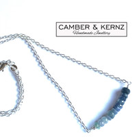 """Ombre Shaded Blue Sapphire 18"""" .925 Necklace"""