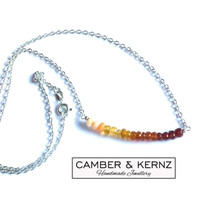 """Fire Opal Ombre Shaded 18"""" .925 Necklace"""