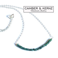 """Faceted Emerald & .925 18"""" Stackable Chain Necklace"""