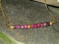 """Luxurious chocolate box colours in these lovely faceted ruby rondels (3x5mm approx.)Ombre shaded for the extra modern feel but its the 20"""" 18k gold filled curb chain and beads that really give this piece a glamorous feel..."""