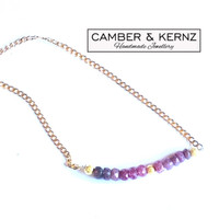 """Ombre Shaded Faceted Ruby Rondels 20"""" 18k Gold Filled Chain"""