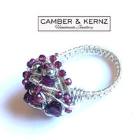 Garnet & Silver Plated Cluster Ring (Size N/6.5)
