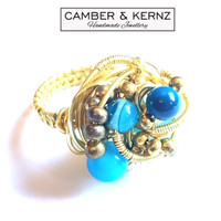 Blue Agate & Gold Coloured Ring (Size O/7)