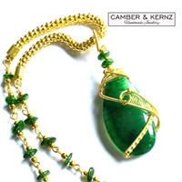 Chrome Diopside & Green Agate Golden Woven Necklace