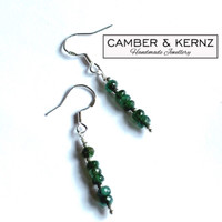 Gift - Faceted Emeralds .925 Sterling Silver Earrings