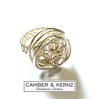 SOLD - Swirl Freeform Silver Plated Ring Size P/7