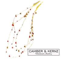 "SOLD - ""Red Berries"" Multi-gem crochet collar, 22"""