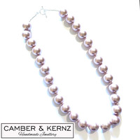 SOLD - 14mm Dusty Pink Shell Pearl & .925 Sterling Silver Necklace