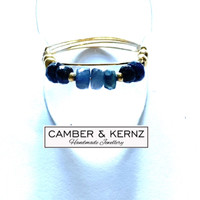 SOLD - Sapphire rondelle Gold Plated .925 Sterling Silver Ring (Size U)