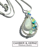 "SOLD - Woven Moonstone Multi-gem .925 Sterling Silver 16"" Necklace"