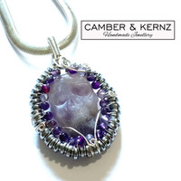Amethyst Carved Skull Pendant with Hematite