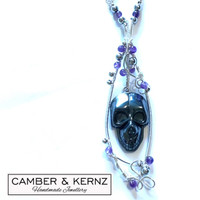 SOLD - Hematite Carved Skull Pendant with Amethyst & Hematite Link Chain