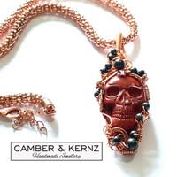 Red Jasper Carved Skull, Pyrite & Copper Necklace