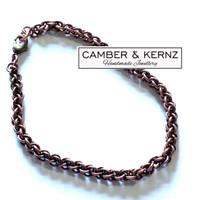 "Dark (Patina) Copper Chainmaille Bracelet 8"""