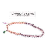 """Two Tone Patina Natural Copper Bracelet with Tourmaline Charms 7.5"""""""