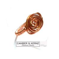 Square Copper Wire Freeform Spiral Ring Size T