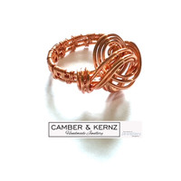 SOLD - Woven Band Freeform Copper Ring Size U.5