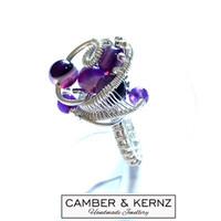 SOLD - Amethyst .925 Sterling Silver Cluster Ring Size K