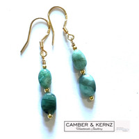 Oval Emerald & Gold Plated .925 Sterling Silver Drop Earrings