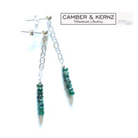 Long Emerald .925 Sterling Silver Chain Earrings