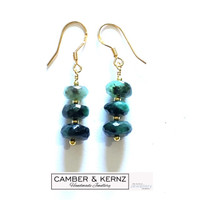 Large Emerald Rondelles & Gold Plated .925 Sterling Silver