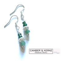 Two Tone Faceted Emeralds & .925 Sterling Silver Filigree Earrings