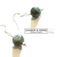 Labradorite 8mm Round Faceted .925 Sterling Silver Earrings