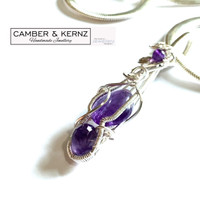 "Amethyst Trio Pendant on 20"" Snake Chain"
