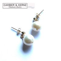 9mm Round White Pearl Stud Earrings in 9ct Gold