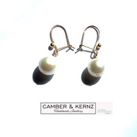 9mm Round White Pearl Safety Hook Earrings in 9ct Gold