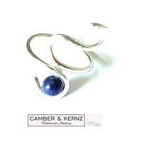 SOLD - .925 Sterling Silver (1.8mm wire) Lapis Lazuli Adjustable Ring