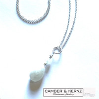 Pear shaped Rainbow Moonstone pendant with .925 Sterling Silver Chain