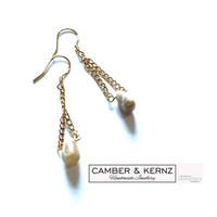 Grey Moonstone Drop .925 Gold Filled Earrings
