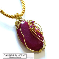Golden Ruby Kumohimo Necklace