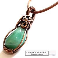 Aventurine & Copper Antiqued Pendant