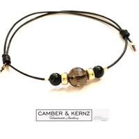 SOLD - 9ct Gold, Smokey Quartz, Black Tourmaline & Brown Leather Sliding Bracelet