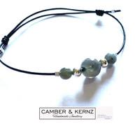 Labradorite & .925 Sterling Silver Sliding Knot Leather Bracelet