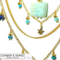 """SOLD - Gold Plated Layered Multi-Gem Necklace """"Shades of the Ocean"""""""