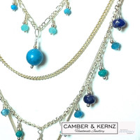 """Silver Plated Layered Multi-Gem Necklace """"Shades of the Ocean"""""""