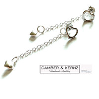 SOLD - .925 Belcher Chain Long Back Dangle Earrings - Heart of Puffy Hearts