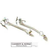 .925 Flat Curb Chain Long Back Dangle Earrings - Heart of Puffy Hearts