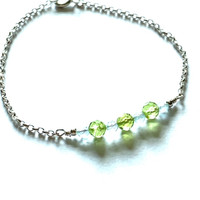 ".925 Sterling Silver 7"" Aquamarine & Peridot Bracelet"