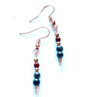 SOLD - Red Jasper & Pyrite Copper Earrings