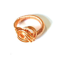 SOLD - Freeform Woven Copper Ring - Size R
