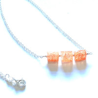 "SOLD - Rectangular Peach Crackle Quartz & 20"" Silver Plated Necklace"