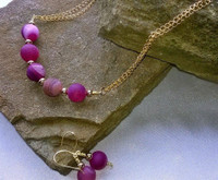 """SOLD - Chunky yet very appealing Cerise Pink Druzy necklace & earring set. Set in gold coloured wire, the reflections just go on. This 20"""" necklace is a real show stopper. Go on Treat Yourself!"""