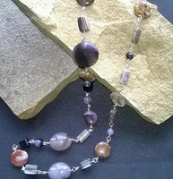 """SOLD - Gorgeous 26"""" multi-coloured Agate rosary necklace. Created in Silver Plated wire that really enhances the natural beauty of this wondrous gemstone. Add the finishing touch to any outfit"""