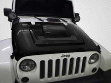 2011 Jeep Wrangler  Hood-2007-2018 Jeep Wrangler Carbon Creations DriTech Heat Reduction Hood - 1 Piece